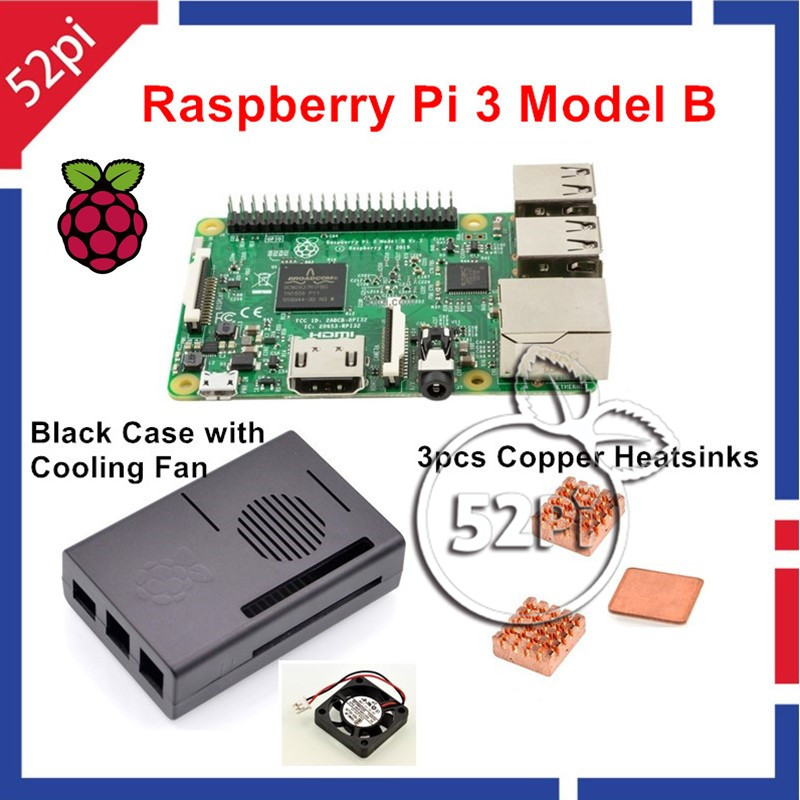 Подробнее о 2016 Original Raspberry Pi 3 Model B 1GB RAM Quad Core WiFi & Bluetooth with ABS Black Case + Cooling Fan + Copper Heatsinks original black abs plastic case box enclosure for raspberry pi 3 model b screws