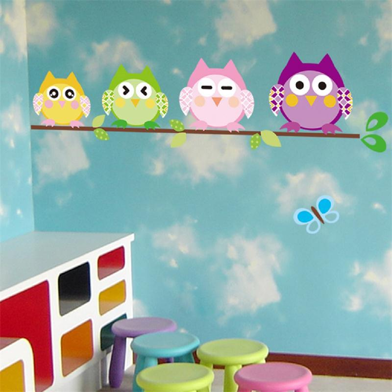 Classroom Decoration Wallpaper ~ Cute owls on tree home decal wall sticker kids room