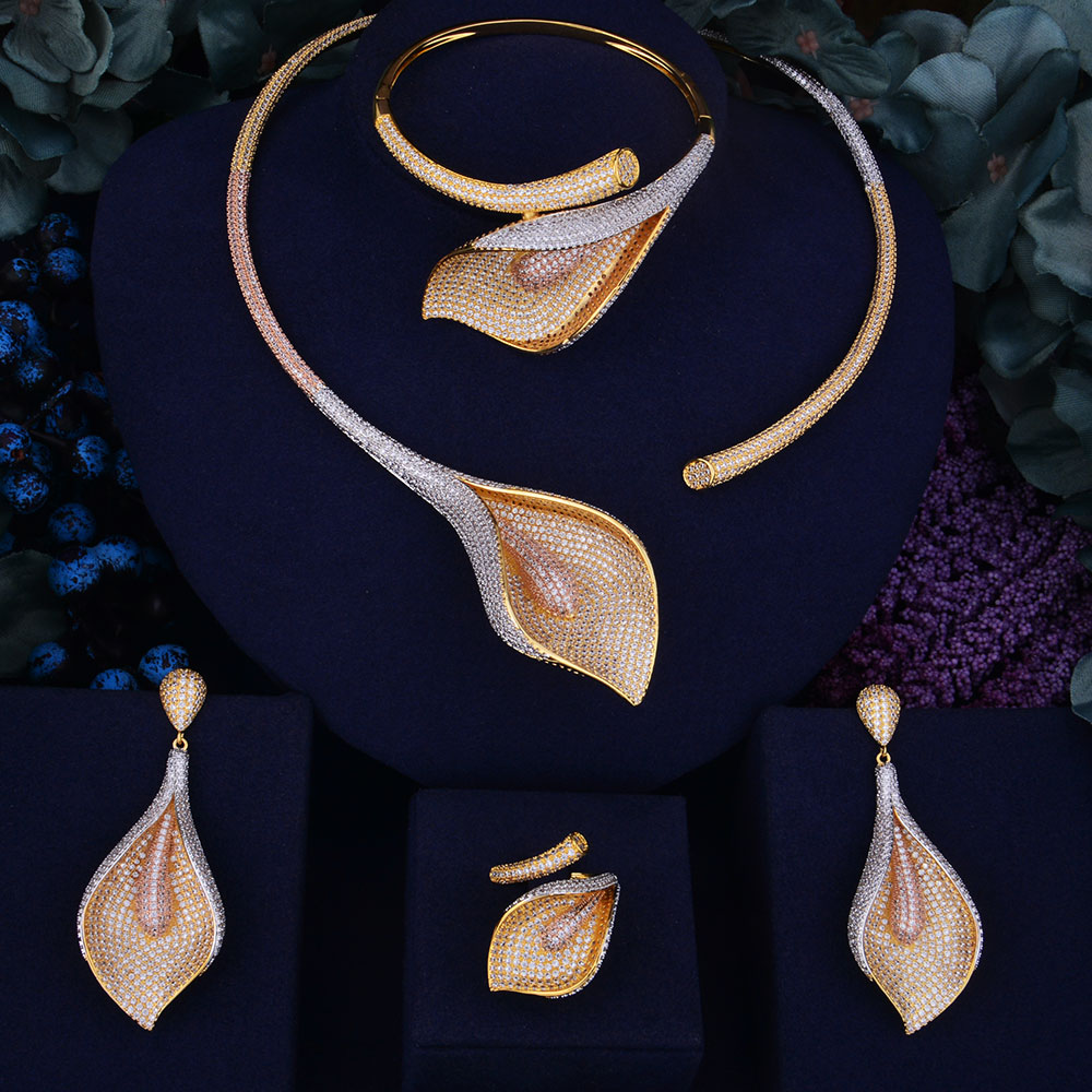 GODKI Blume Lilie Luxus Frauen Hochzeit Naija Braut Zirkonia Halskette Dubai Kleid Schmuck Set-in Schmucksets aus Schmuck und Accessoires bei  Gruppe 1