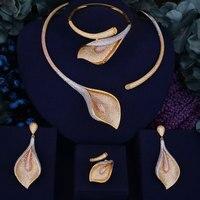 GODKI Flower Lily Luxury Women Wedding Naija Bridal Cubic Zirconia Necklace Dubai Dress Jewelry Set