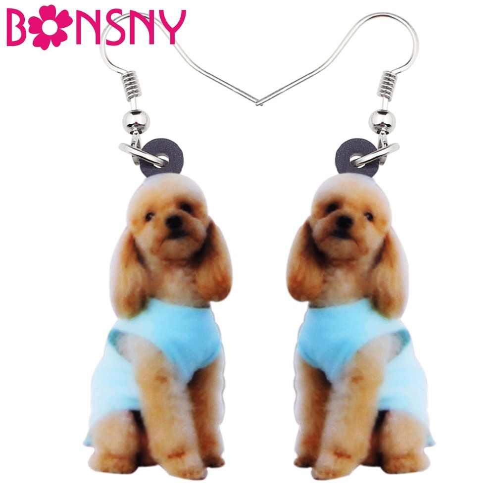 Bonsny de acrílico elegante sentado perro Poodle pendientes largos grandes gota mujeres chicas damas joyería de moda para adolescentes regalos a granel
