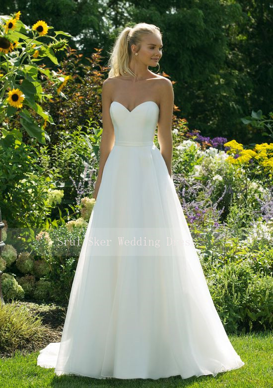 Cheap Tulle Wedding Dress Sweetheart A-Line Floor Length With Pocket Custom Made White Bridal Gowns