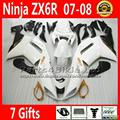 New aftermarket for 2007 2008 Kawasaki ZX6R  fairing bodykits  white black fairings kits  07 08 ZX-6R  XR12 +7 gifts