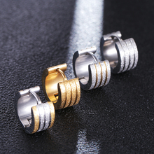 5 Style Women New Fashion Cool Gold/Silver/Black Four Floors Frosted Stainless Steel Round Stud Earrings For Men Jewelry 2019