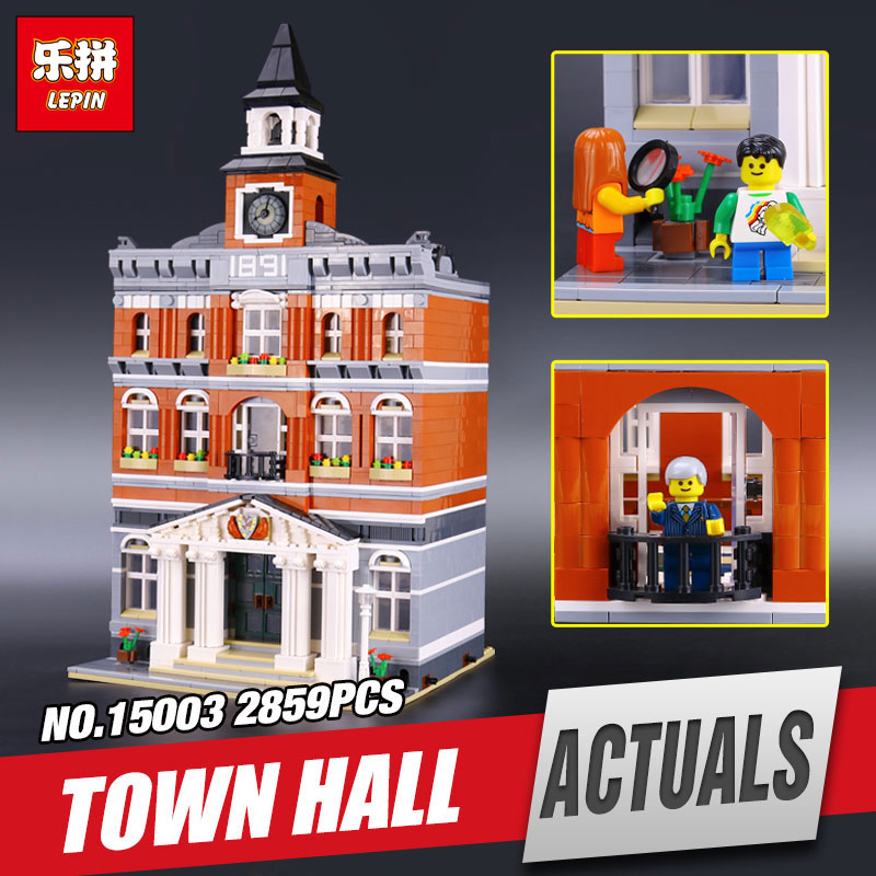 LEPIN 15003 2859Pcs The town hall Model Educational Building Blocks Kits Legoing Toy Compatible With children brithday Gift free dhl shipping lepin 15003 new 2859pcs creators the town hall model building kits blocks kid toy gift