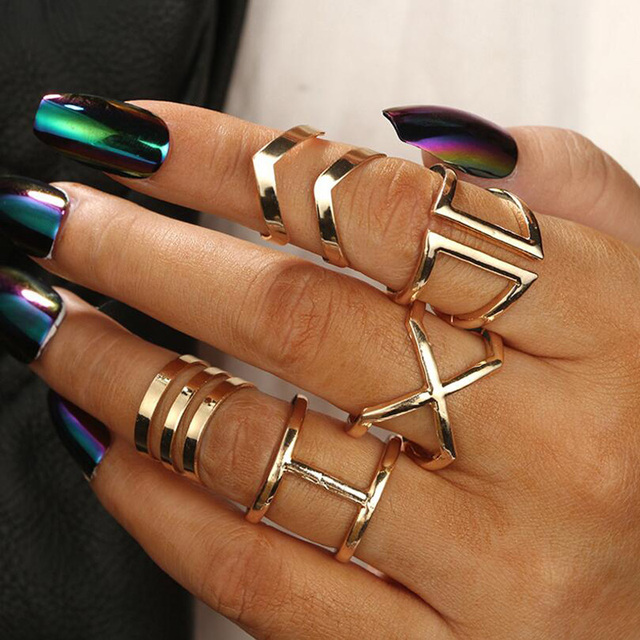 5 Pcs/ Set Classic Gold Colour V Chevron Rings Geometrical Irregular Ring Set Lady Charm Costume Jewelry Accessories Midi Rings 1