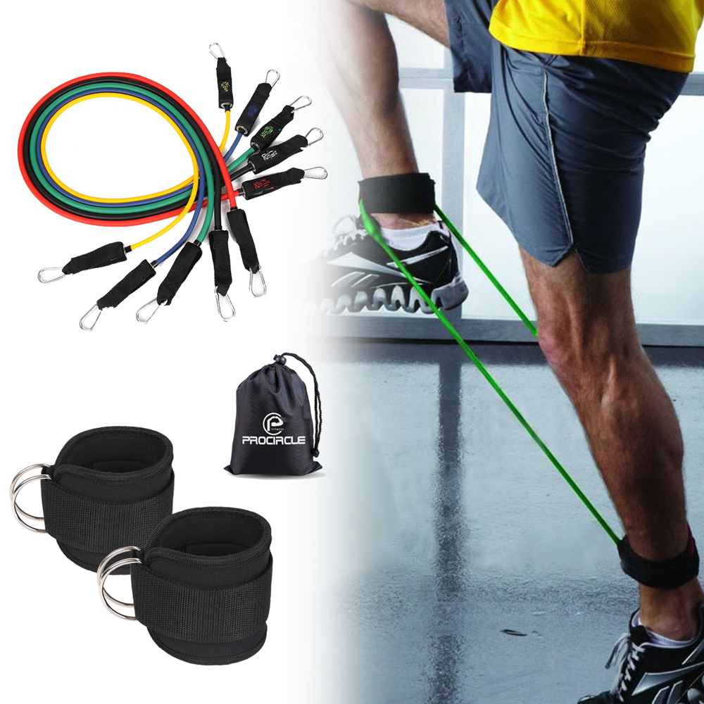 Single Sale 5 Levels Fitness Resistance Tube Bands With Buckle Natural Latex For Physical Therapy Pilates Exercise
