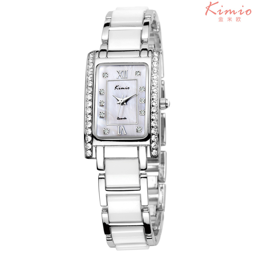 KIMIO Relogio Feminino Crystal Bracelet Quartz Watch Ceramic Square Watches For Women TOP BRAND