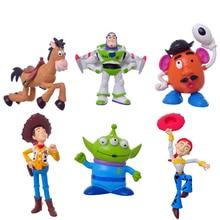 Retail 1 Set 6pCS 1Set 5 9cm Toy Story Woddy Green Alien Action Figure PVC Toy