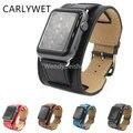 Carlywet couro de bezerro verdadeira substituição relógio band correia loop duplo turnê com adaptador para apple watch iwatch 38mm 42mm