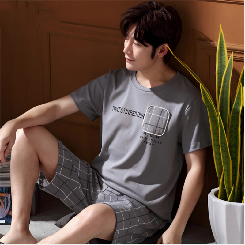 2019 Summer Mens Casual Plaid Pajama Sets Male Short Sleeve Round Collar T Shirt & Half Pants Men Cotton Sleepwear Suit Xxxl Underwear & Sleepwears Men's Pajama Sets