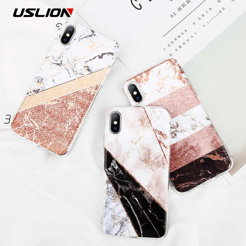 USLION Glitter Poeder Marmer Telefoon Case Voor iPhone 7 Plus Case Voor iPhone X XS Max XR 8 7 6 6S Plus Silicone Soft TPU Back Cover