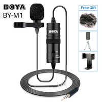 BOYA BY-M1 3.5mm Audio Video Record Lavalier Lapel Microphone for iPhone Android Mac Vlog Mic for DSLR Camera Camcorder Recorder