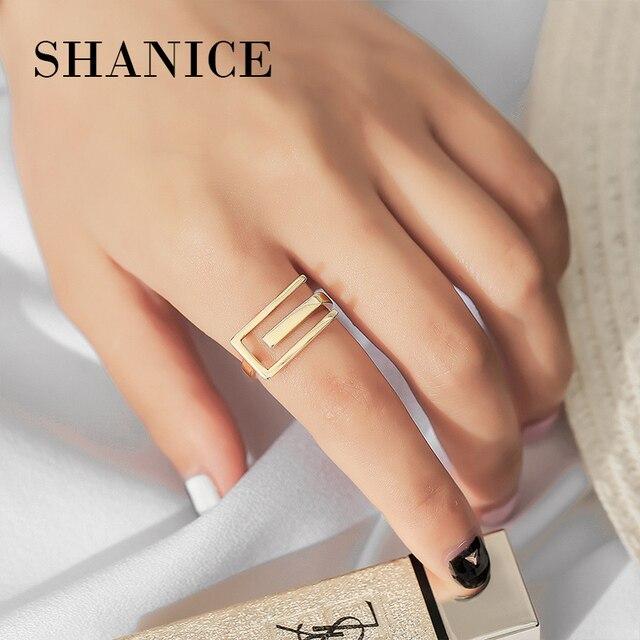 SHANICE personalidad 925 Plata de Ley anillo abierto geométrico Color oro anillo de dedo femenino joyería de moda fina para mujeres