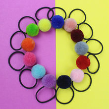 10Pcs/lot Boutique Fur Ball Elastic Hair Bands Tie Rope Baby Girls Mini Pom Poms Hair Ponytail Holder bows Hair Accessories(China)