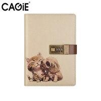 Blokada Hasło Pamiętnik Notebook Cagie Cute Animals Rocznika Skóra Notebooków i Czasopisma Podróżujący Diary Planner Sketchbook