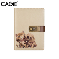 CAGIE Cute Pet Diay With Lock Notebook Kawaii Travel Diary And Journals Sketchbook Personal Diary Planner