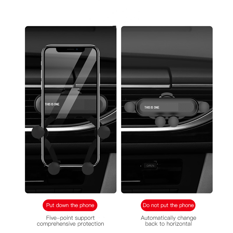 !ACCEZZ Gravity Car Phone Holder Air Vent Mount Clip For iPhone XS Universal Mobile Phone Stand Support GPS in Car Auto Bracket (7)