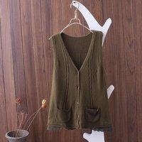 Vrouwen Vest Vest Herfst Mode Gebreide V-hals Mouwloze Truien Hem Kant Pocket Vest Vrouwelijke Wild