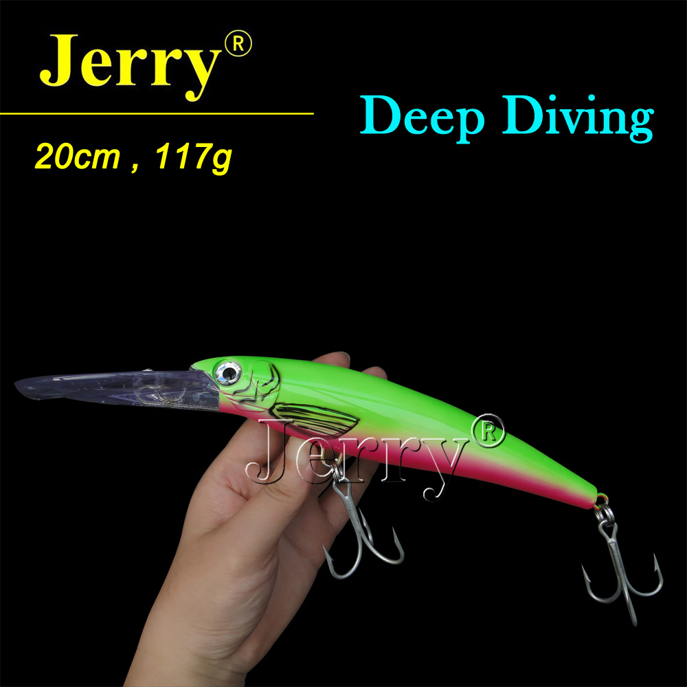 Jerry 20CM big game saltwater fishing lure hard plastic bait deep diving minnow rigged custom big game marlin tuna hawaiian deep sea trolling lure