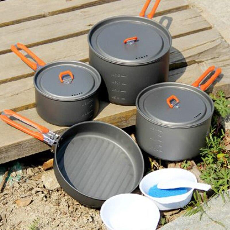 Casseroles de cuisine 4-5 personnes Camping Pots ensemble Camping en plein air pique-nique cuisine en aluminium batterie de cuisine ensemble 1034g feu érable fête 5