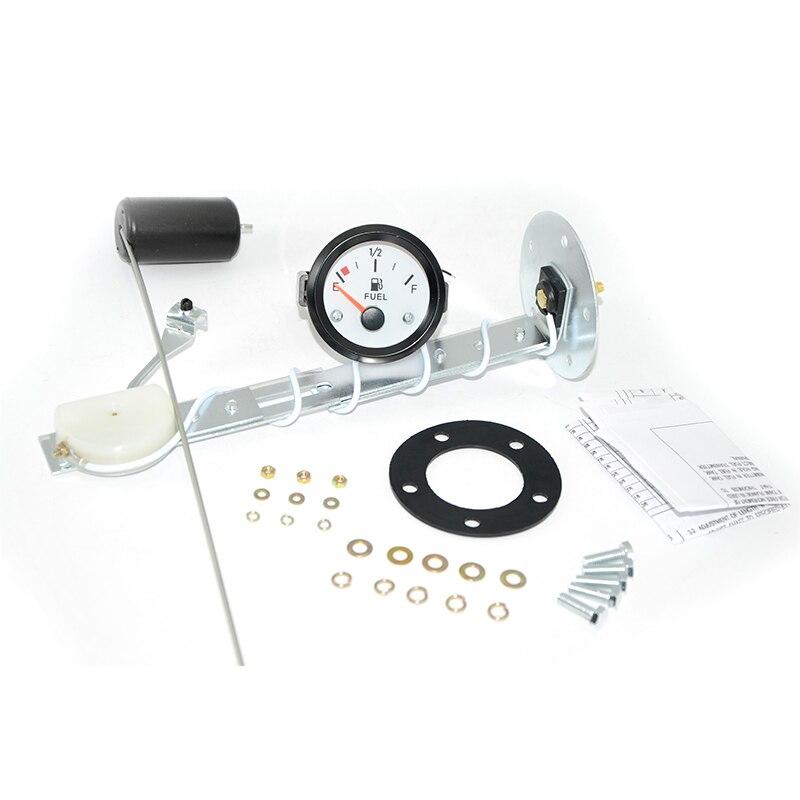 2″ 52mm White Face Fuel Level Gauge Car Meter with Fuel Float Sensor White LED Light Black Rim Automotive Gauges 12V