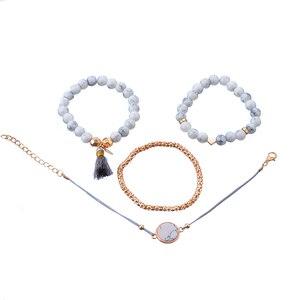 Crazy Feng 2018 богемный мраморный камень Набор браслетов с бусинами для женщин натуральный камень кисточка браслеты с подвесками браслет Femme ювелирные изделия