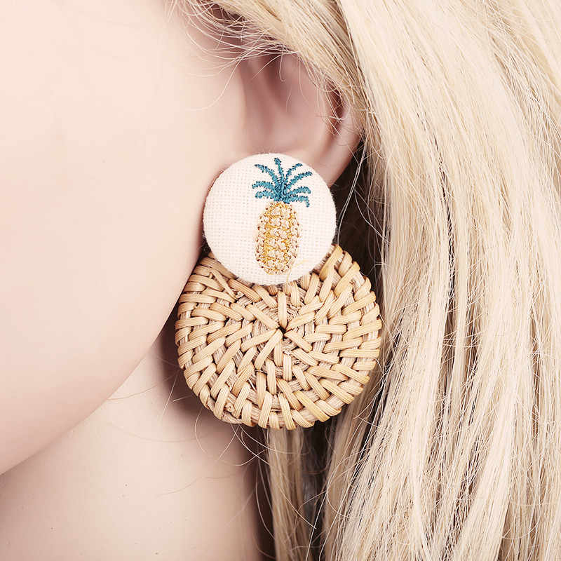 fashion simple personality creative handknit rattan earrings for women with round pendant design earrings exquisite kolczyki
