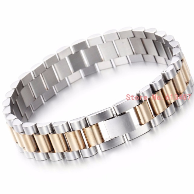 New Design 15mm Mens Chain Boys Bracelet Silver Gold 316l Stainless Steel Fashion Curb