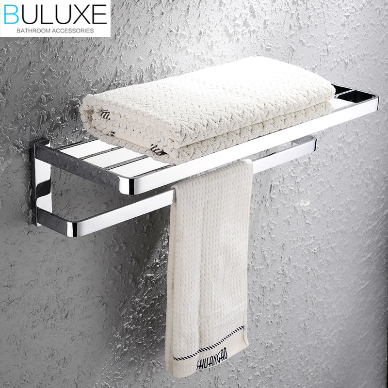 BULUXE Solid Brass Bathroom Accessories Towel Bar Rack Holder Chrome Finished Wall Mounted Bath Acessorios de banheiro HP7705
