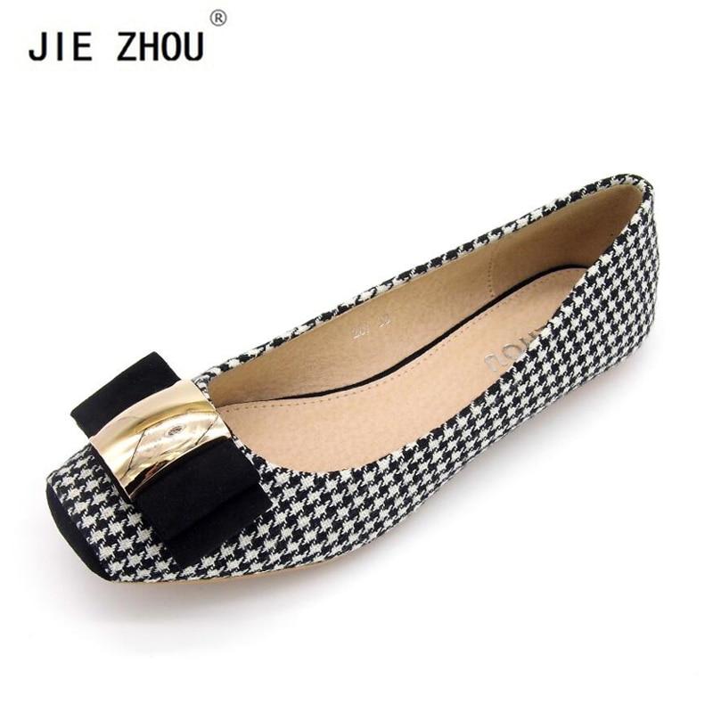 Fashion Women Shoes Woman Ballet Flats Plaid Cloth Shoe Bowknot Comfortable Square head Casual Shoes Slip On Women's Flat Shoes