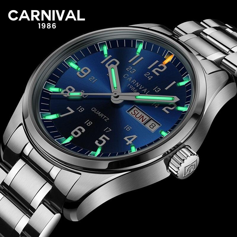 Carnaval de luxe marque Tritium T25 lumineux militaire montre suisse quartz hommes montres en acier étanche horloges relojs affaires