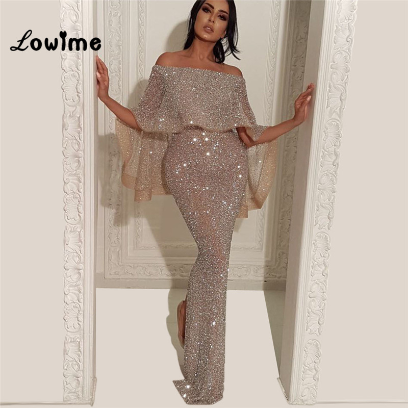 De L'épaule Musulman de Soirée Robe Moitié Manches De Bal Robes Abiye Gece Elbisesi Turc Arabe Moyen-Orient Robe de Partie De Femmes