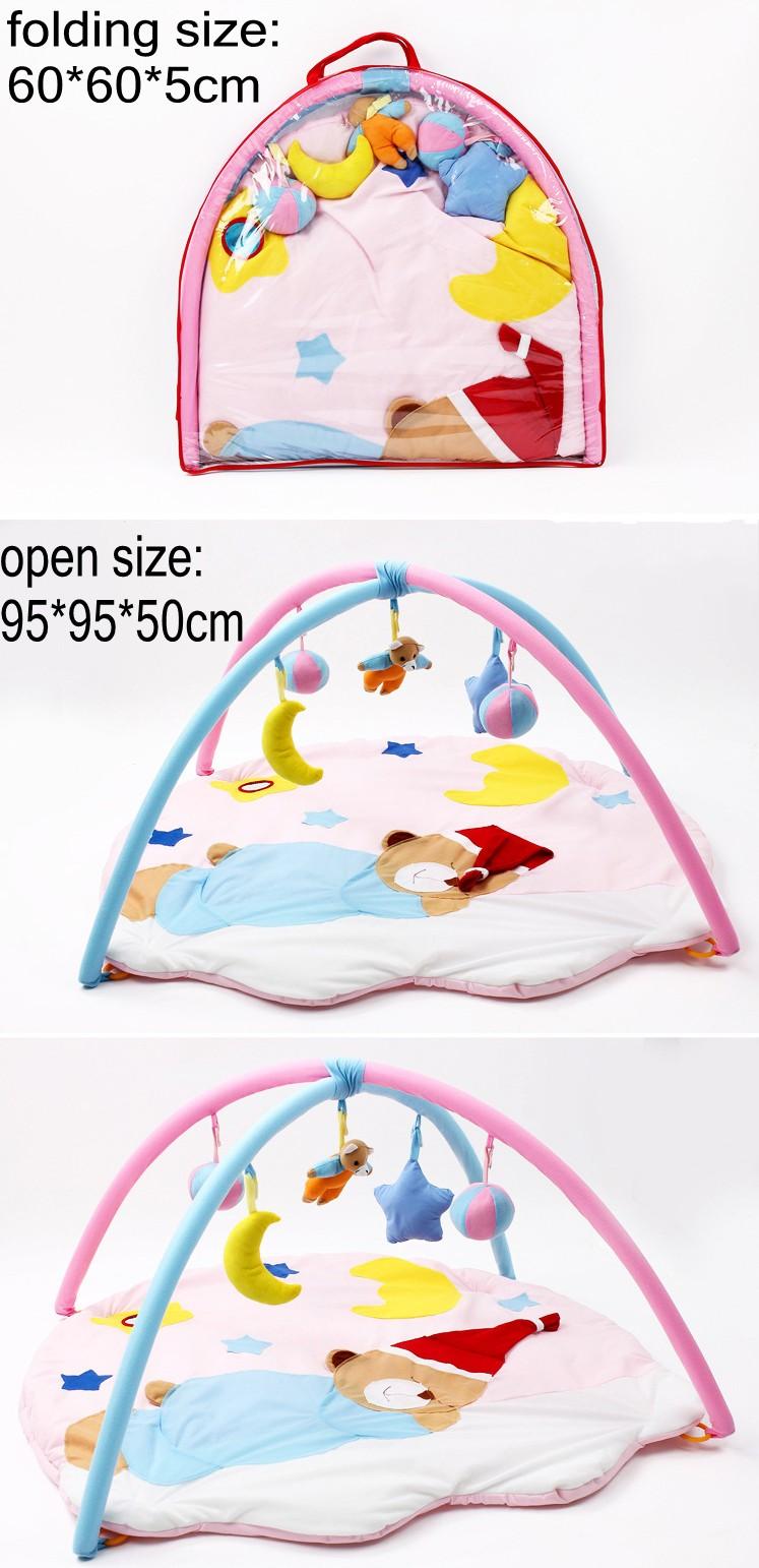 Fun Cartoon Sleeping Bear Soft Baby Play Mat Toy Kids Toddler Musical Gym Activity Play Blanket Baby Indoor Crawling Pads 1