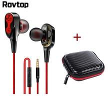 Проводные наушники Rovtop с высоким басом и двойным приводом, стерео наушники-вкладыши 3,5 мм типа C с микрофоном, компьютерные наушники