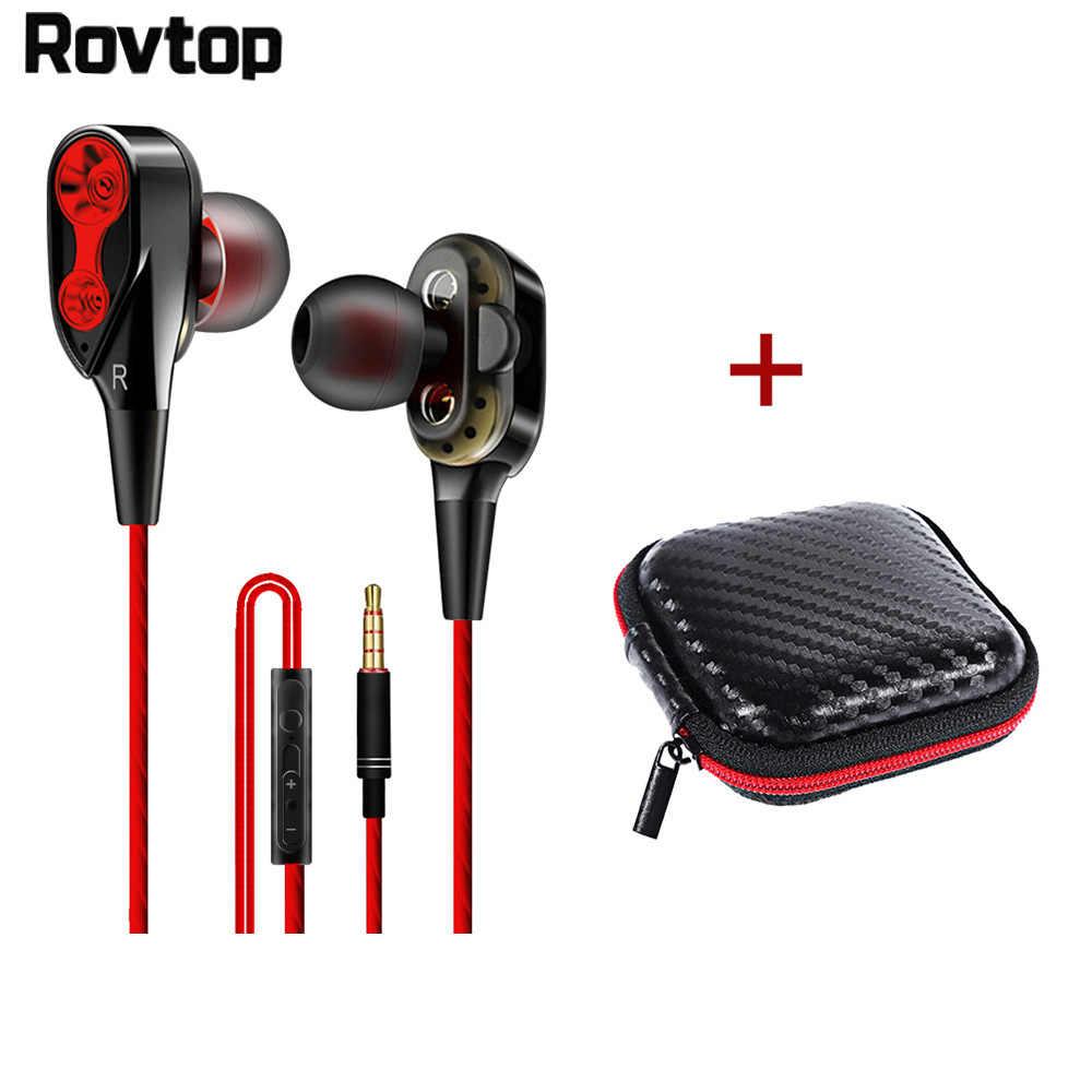 Rovtop 有線イヤホン高低音デュアルドライブステレオインイヤーイヤホン 3.5 ミリメートルタイプ C とマイクコンピュータイヤフォン