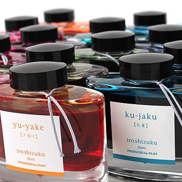 PILOT iroshizuku tinte 50 Brunnen stifte tinte Original Japan glas flasche Natürliche tinte 24 farben zu wählen Freies Verschiffen
