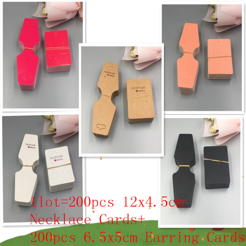 200pcs 12x4.5cm Necklace Cards+200pcs 6.5x5cm Earring Cards,Necklace/ Pendant Kraft Paper Display Cards Accept Customized