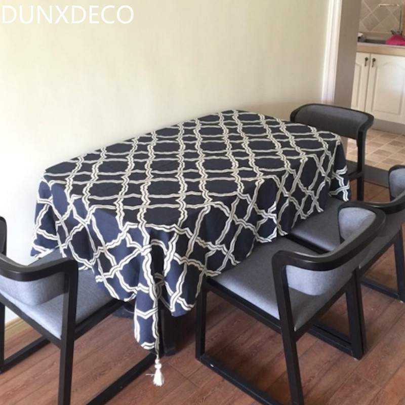 DUNXDECO 1PC Modern Nordic Dark Blue Geometric Linen Cotton Tablecloth  Kitchen Textile Table Cover Home Store
