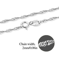 6 Lengths Real 925 Sterling Silver Wave Wave Chain Necklace Womens Kids 35cm 40cm 45cm 50cm