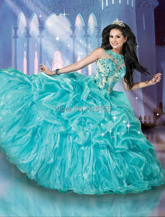 Girls Hot See Through Romantic Ball Gown Quinceanera