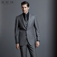 Charcoal Mens Suits Wedding Groom Tuxedos 3 Pieces Jacket+Vest+Pants Slim Fit Casual Best Man Suit Male Formal Prom Party Suits