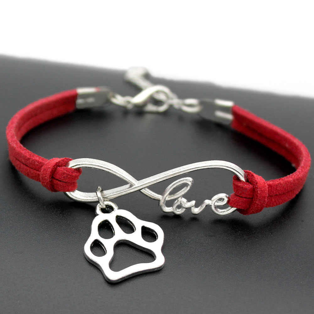 1pcs infinity handmade Women Stylish  Love Pets Dogs Lover Cat Animal Bear Paw Charms Pendant Bracelet Friendship Gift 7433