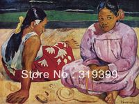 Portrait Oil Painting Reproduction on Linen canvas,Tahitian Women on the Beach by paul gauguin,100% handmade ,Free DHL Shipping
