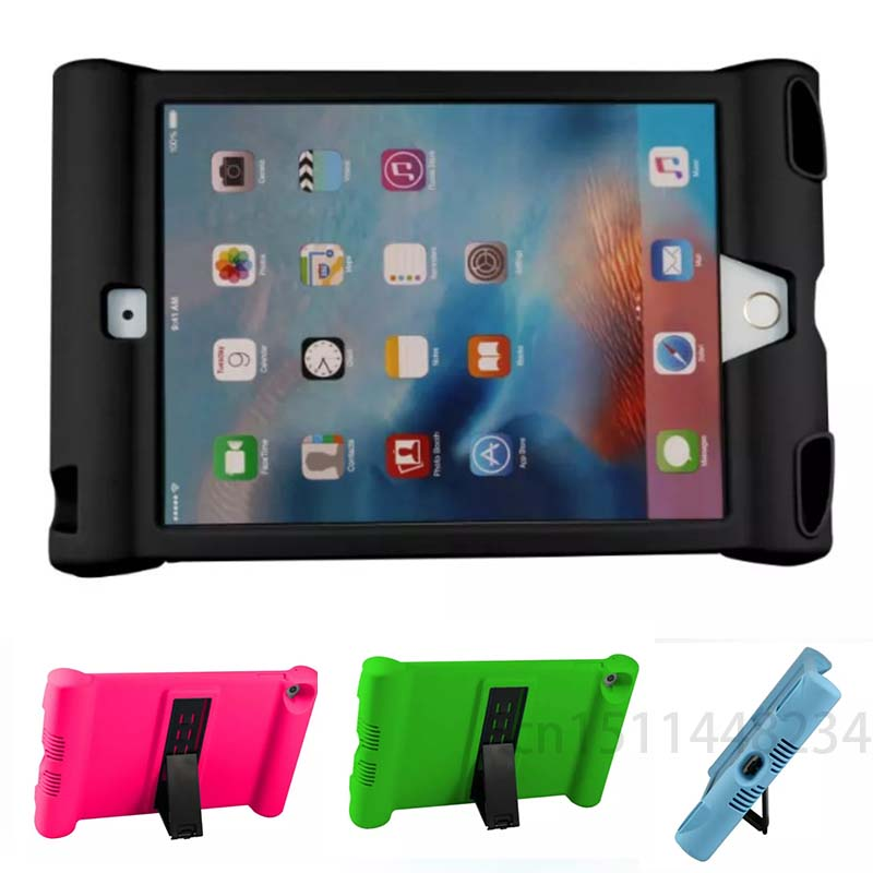 New! For iPad Mini 4 Kids Stand Cover Safe Shockproof Rubber Silicone Case for Apple ipad mini4 With capa fundas + Stylus Pen