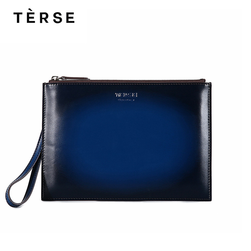 TERSE 2018 New Wallets For Men Genuine Leather Clutches Wallets Fashion Good Quality Handmade Purse Hand Bag customize Logo 9669