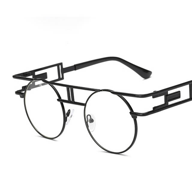 73b927130e5e Peekaboo Fashion retro gothic steampunk eyeglasses women round gold metal  frame branded eyewear frames men designer