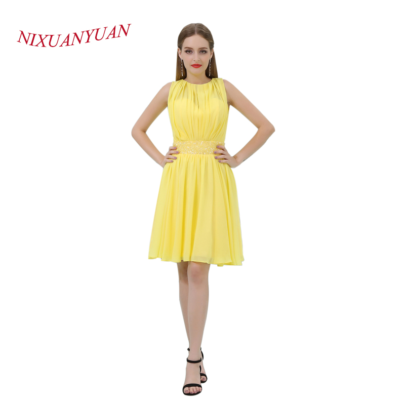 NIXUANYUAN 2017 Simple Pleat Yellow Chiffon Party Gown Short   Cocktail     Dress   2017 Sashes Beading vestidos de   cocktail   2017 Real