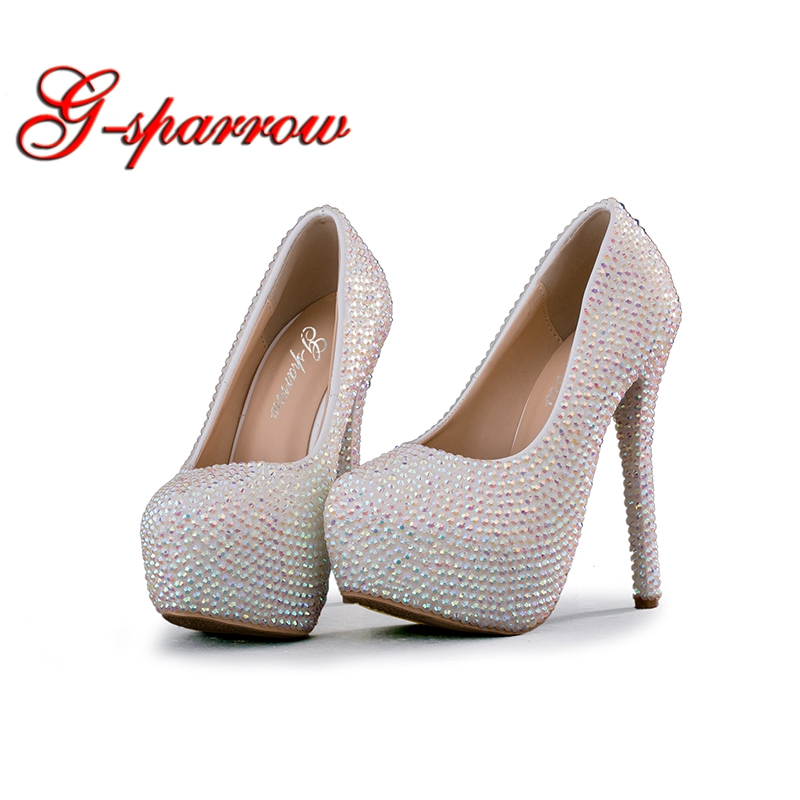 Bling Crystal High Heels Wedding Shoes Woman White AB Rhinestone Bridal  Dress Shoes Platform Matric Graduate Farewell Pumps-in Women s Pumps from Shoes  on ... 071d874a6a27