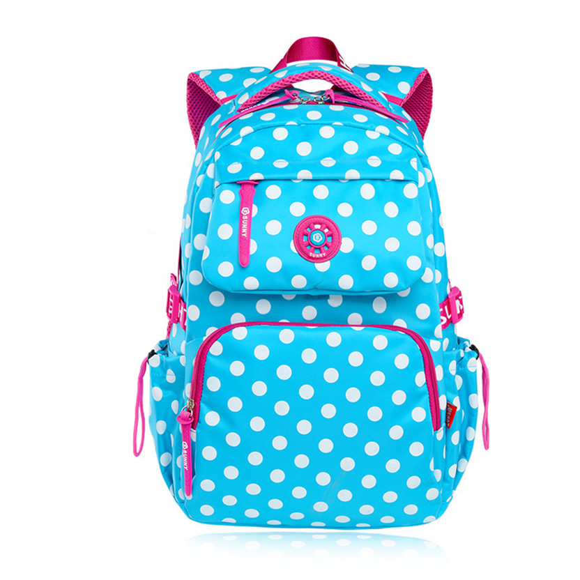 цена на sky blue polka dot backpacks for teenage girls school bags schoolboy bagpack student bookbag schoolbag women backpack mochila
